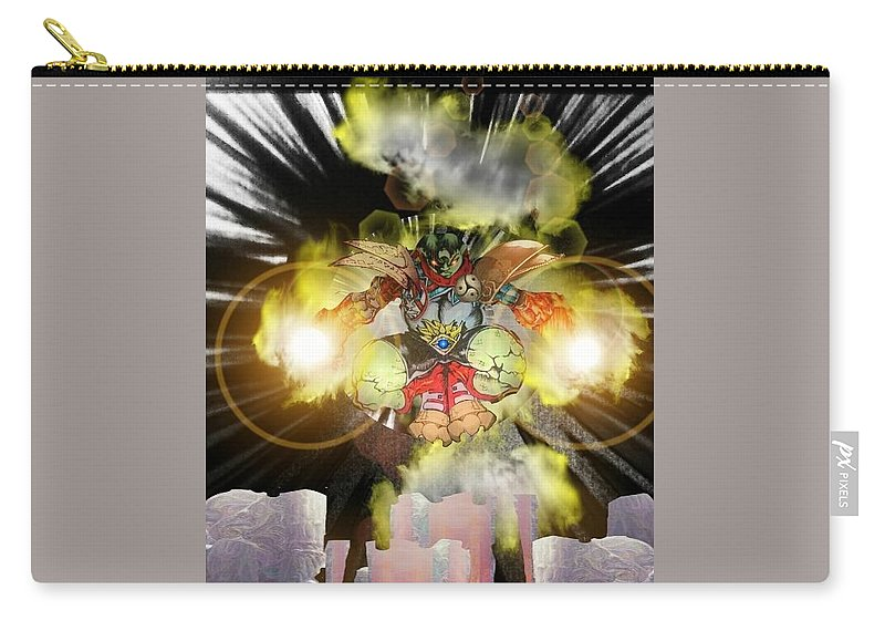 Fantasy Landscape Carry-all Pouch featuring the drawing Firelord by Louis Williams