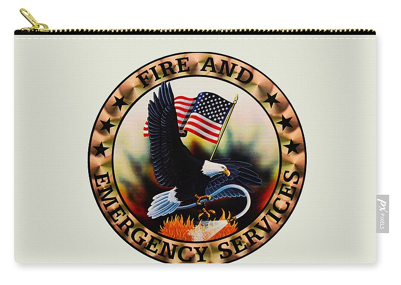 Fireman Carry-all Pouch featuring the photograph Fireman - Fire And Emergency Services Seal by Paul Ward