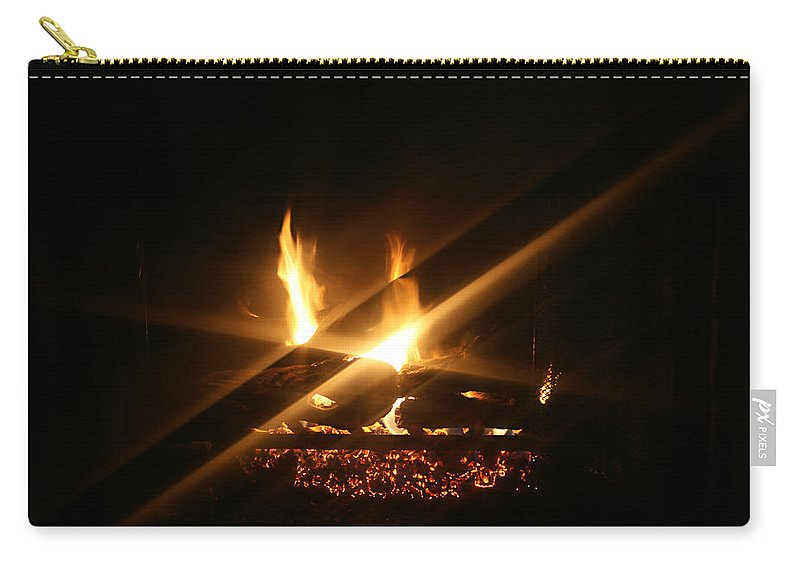 Fireplace Carry-all Pouch featuring the photograph Fireplace by Ellen Henneke