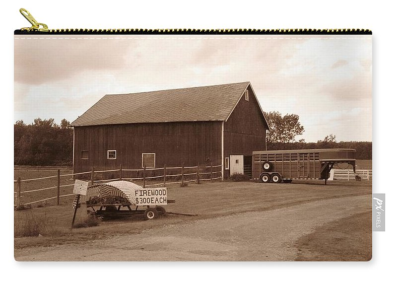 Barn Carry-all Pouch featuring the photograph Firewood For Sale by Rhonda Barrett