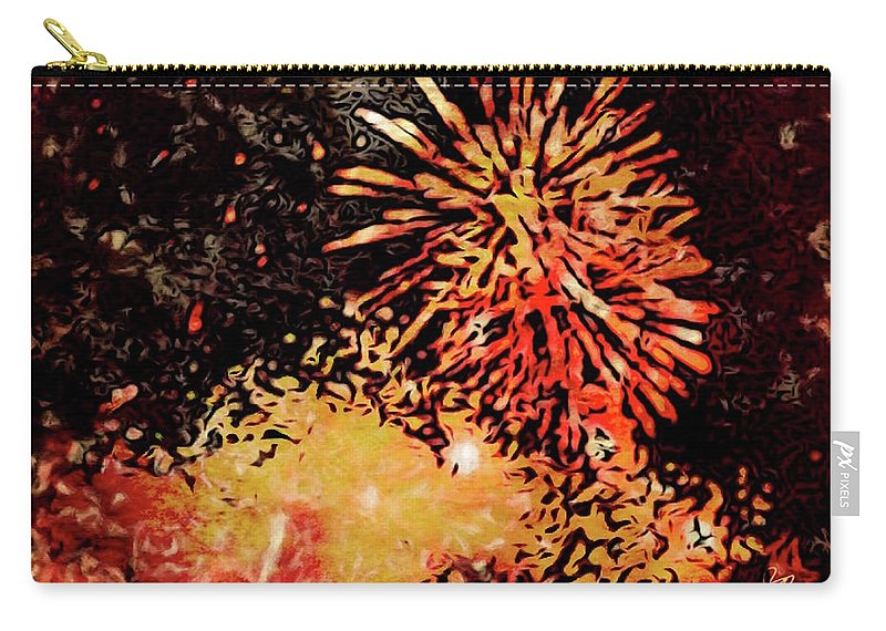 Fireworks Carry-all Pouch featuring the painting Fireworks 4 by Joan Reese