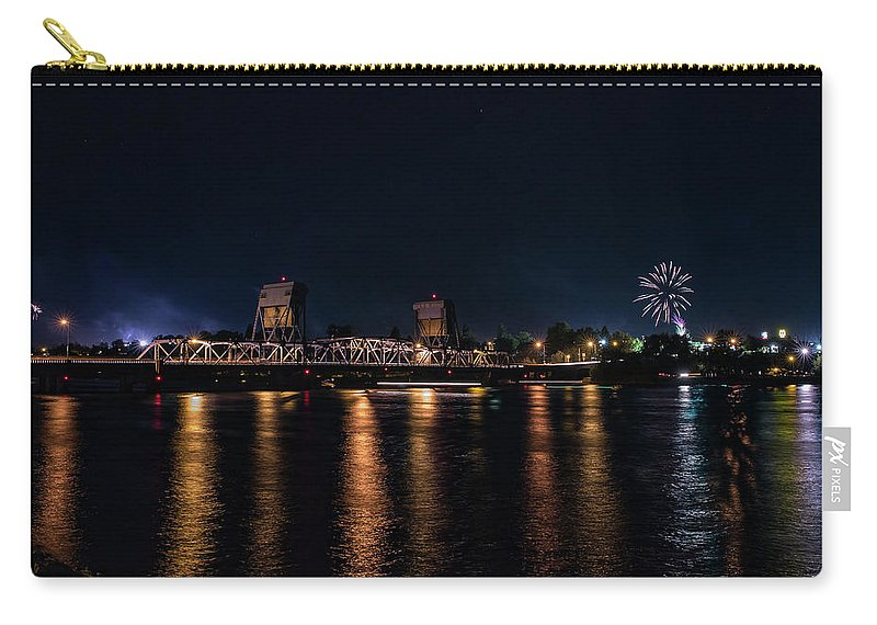 Carry-all Pouch featuring the photograph Fireworks And The Blue Bridge by Marcia Darby