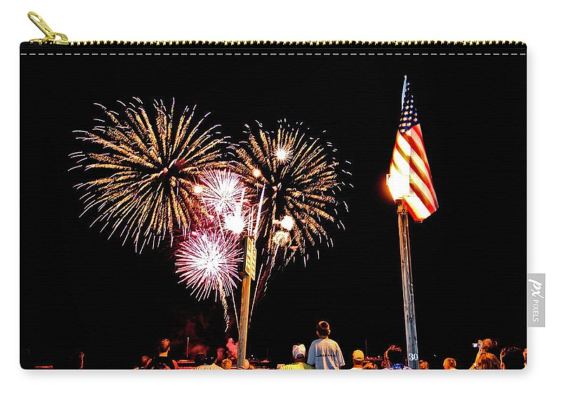 4th Of July Carry-all Pouch featuring the photograph Fireworks And The Flag by Nature Photographer