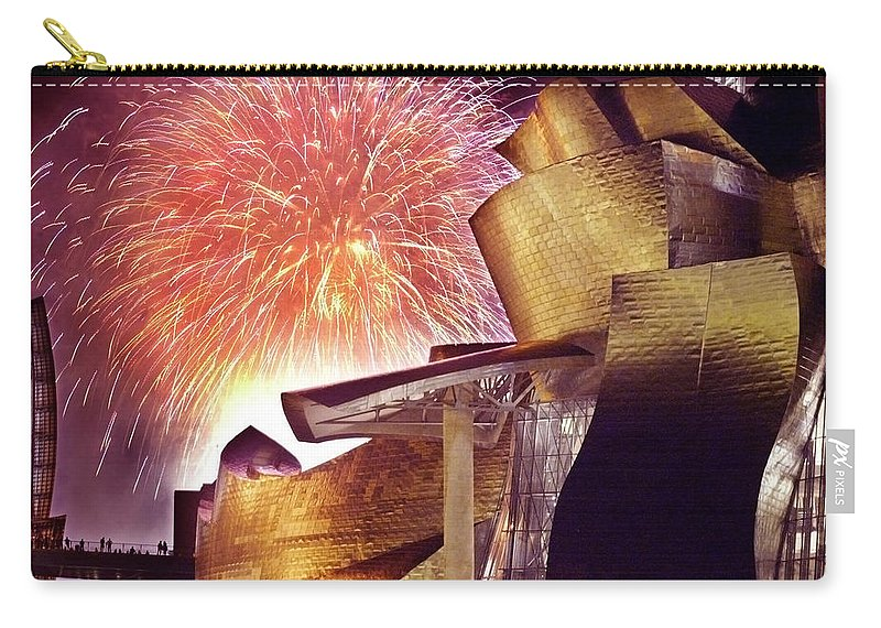 Spain Carry-all Pouch featuring the photograph Fireworks At Guggenheim by Rafa Rivas
