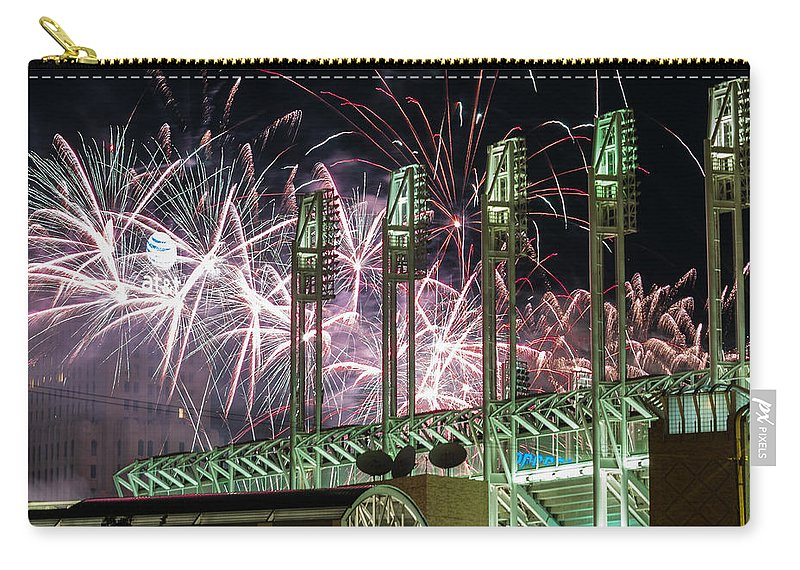 Cleveland Carry-all Pouch featuring the photograph Fireworks At The Jake by Stewart Helberg