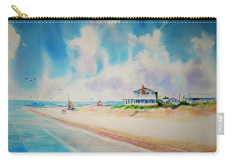 Beach Carry-all Pouch featuring the painting First Day Of Vacation Is Pricless by Tom Harris