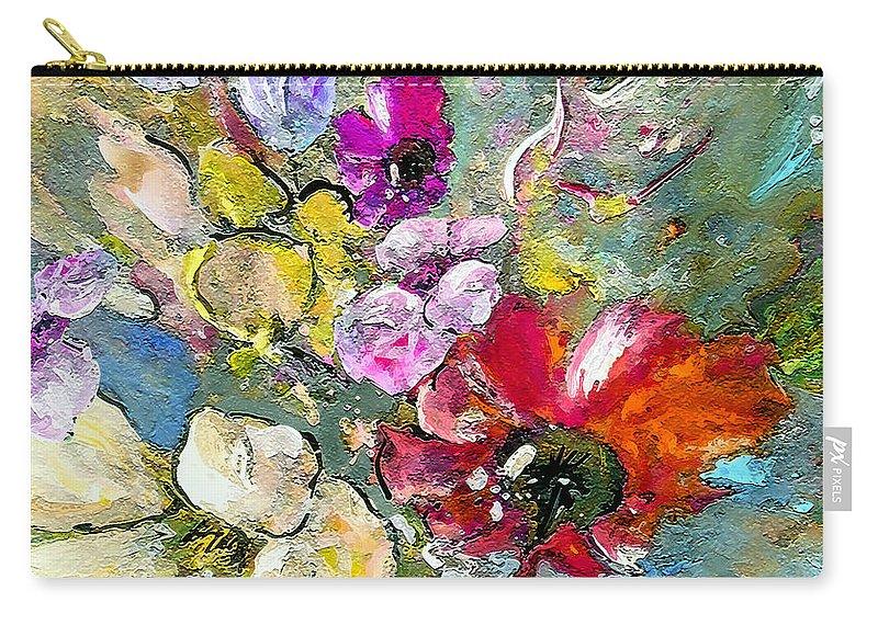 Nature Painting Carry-all Pouch featuring the painting First Flowers by Miki De Goodaboom