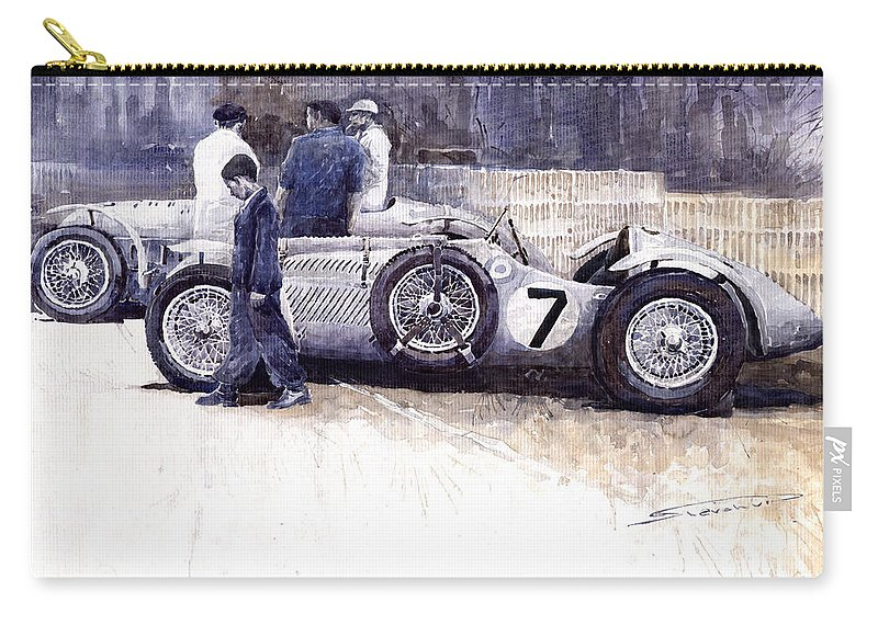 Auto Carry-all Pouch featuring the painting 1950 First Met Up Talbot Lago Le Mans 24 by Yuriy Shevchuk