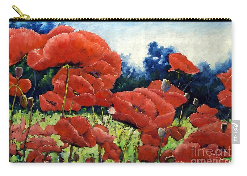 Poppies Carry-all Pouch featuring the painting First Of Poppies by Richard T Pranke