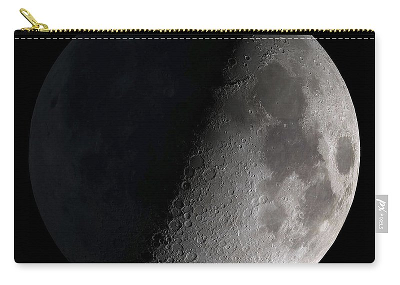 Mare Serenitatis Carry-all Pouch featuring the photograph First Quarter Moon by Stocktrek Images