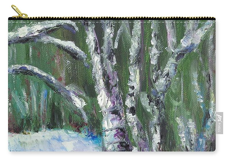 Landscape Carry-all Pouch featuring the painting First Snow by Eydie Paterson