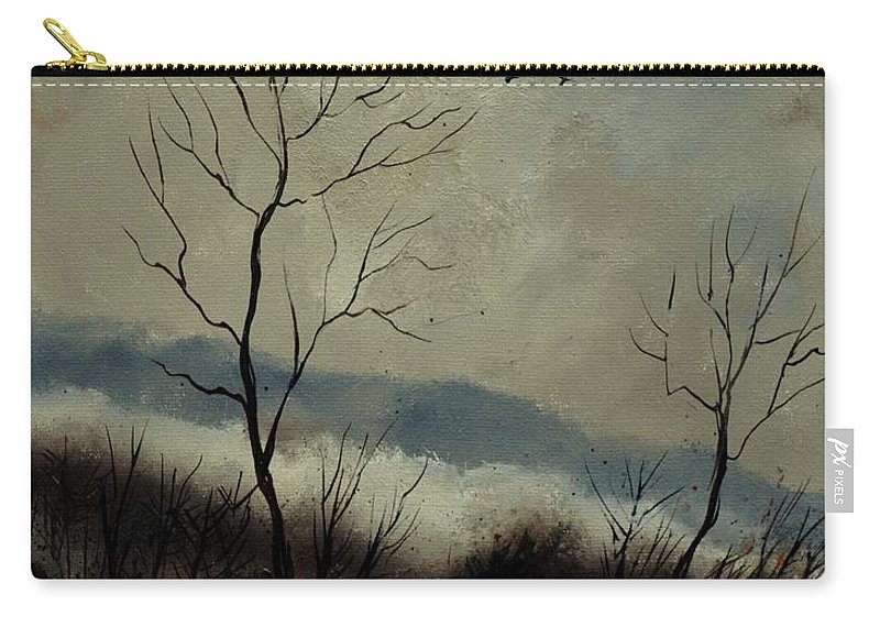 Landscape Carry-all Pouch featuring the painting First snow in Harroy by Pol Ledent