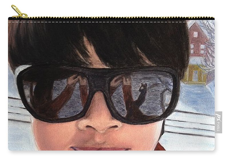 Winter Carry-all Pouch featuring the painting First Snow - Self-portrait In Oil by Lavender Liu