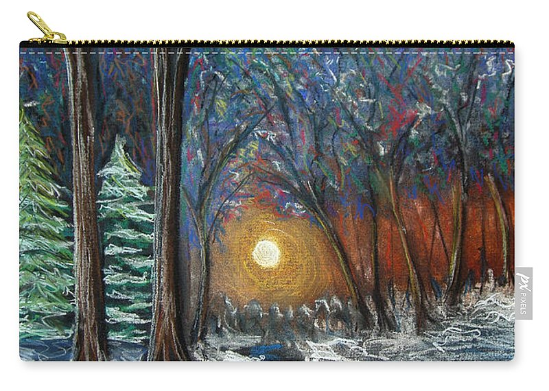 Snow Carry-all Pouch featuring the pastel First Snow by Nancy Mueller