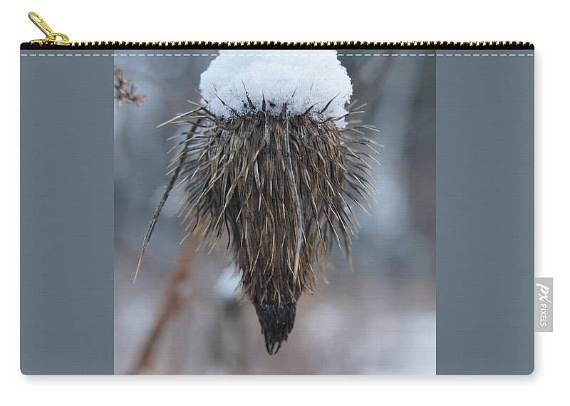 Line Gagne Carry-all Pouch featuring the photograph First Snow On The Thistle by Line Gagne