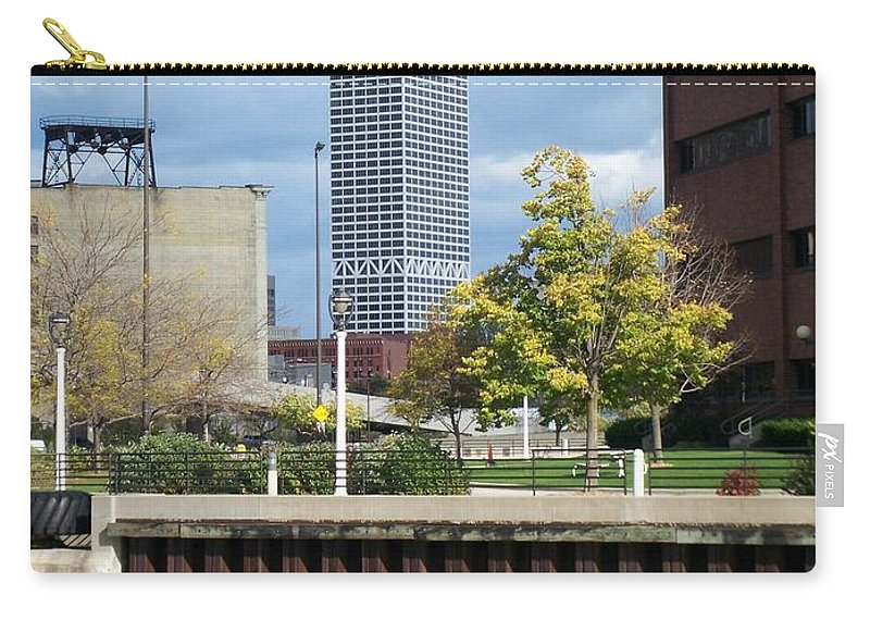 First Star Bank Carry-all Pouch featuring the photograph First Star Tall View From River by Anita Burgermeister