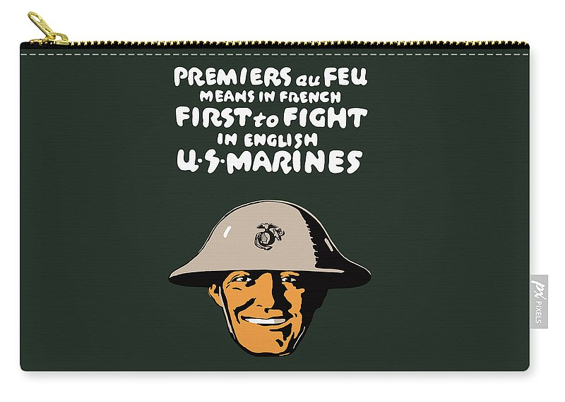 Marine Corps Carry-all Pouch featuring the painting First To Fight - US Marines by War Is Hell Store