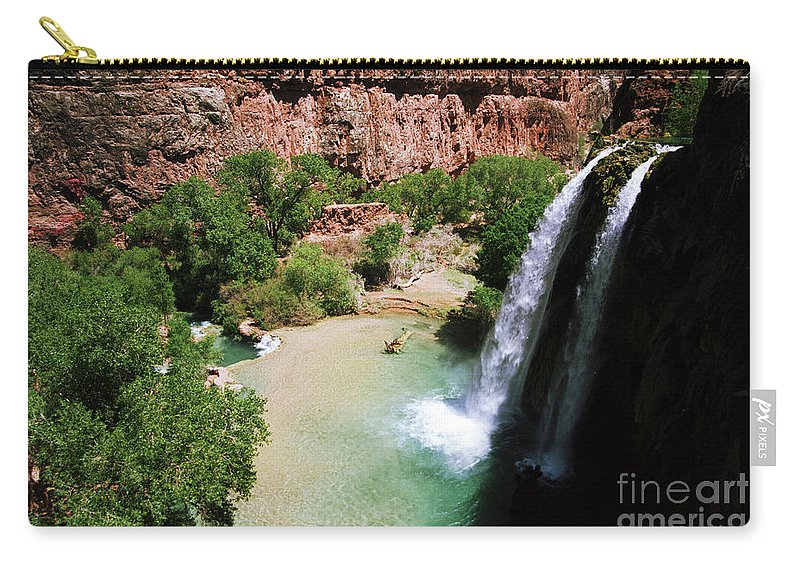 Havasupai Carry-all Pouch featuring the photograph First View Of Havasu Falls by Kathy McClure
