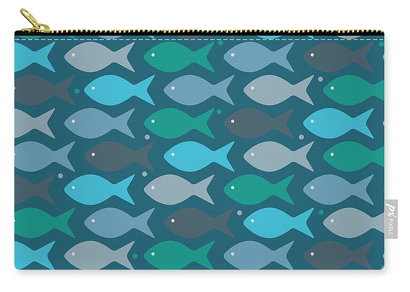 Dolphins Carry-all Pouch featuring the digital art Fish Blue by Mark Ashkenazi