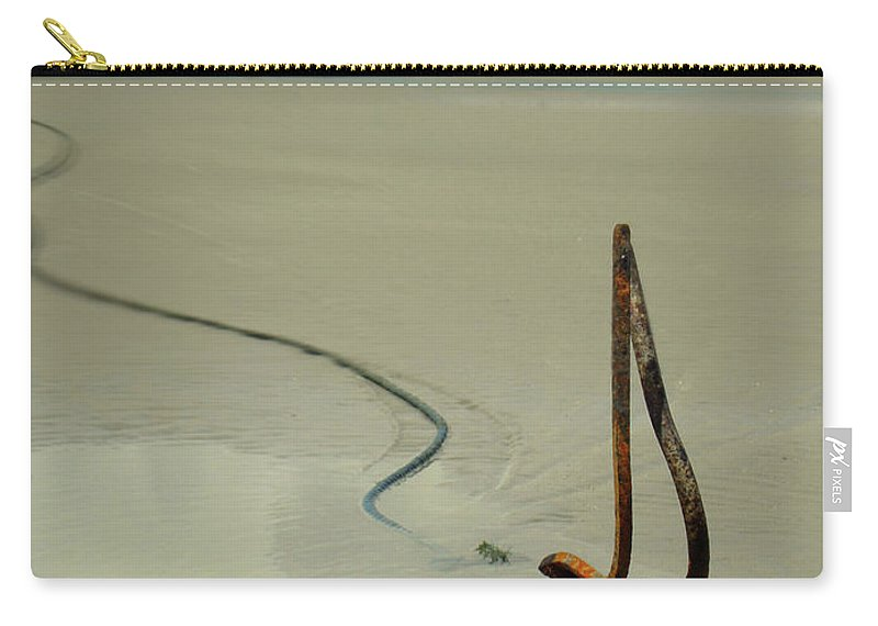 Boat Carry-all Pouch featuring the photograph Fish Boat And Anchor On Low Tide by Idan Badishi