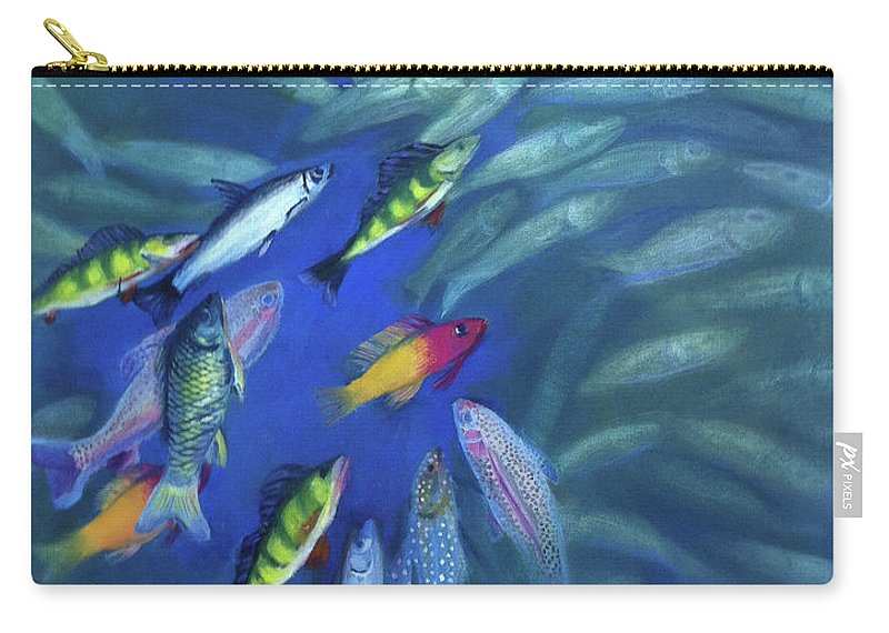 Fish Carry-all Pouch featuring the painting Fish Bowl by Art Nomad Sandra Hansen