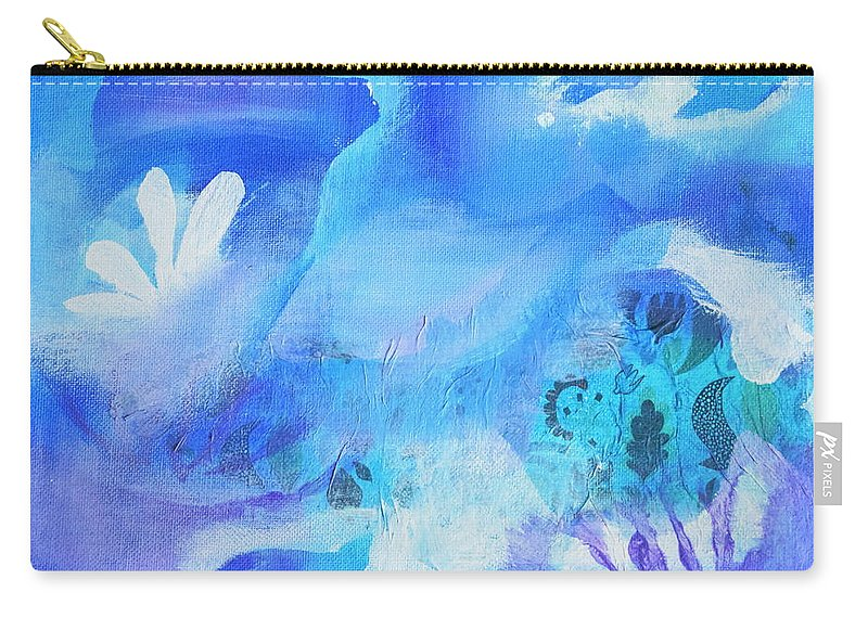 Fish Carry-all Pouch featuring the mixed media Fish In Blue by HelenaP Art