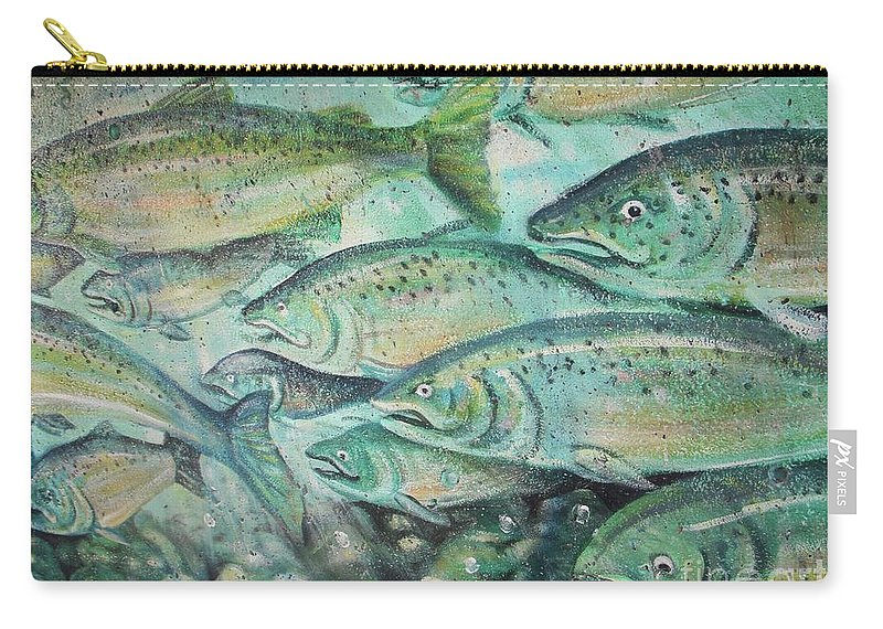 Fish Carry-all Pouch featuring the photograph Fish On The Wall by Vesna Antic