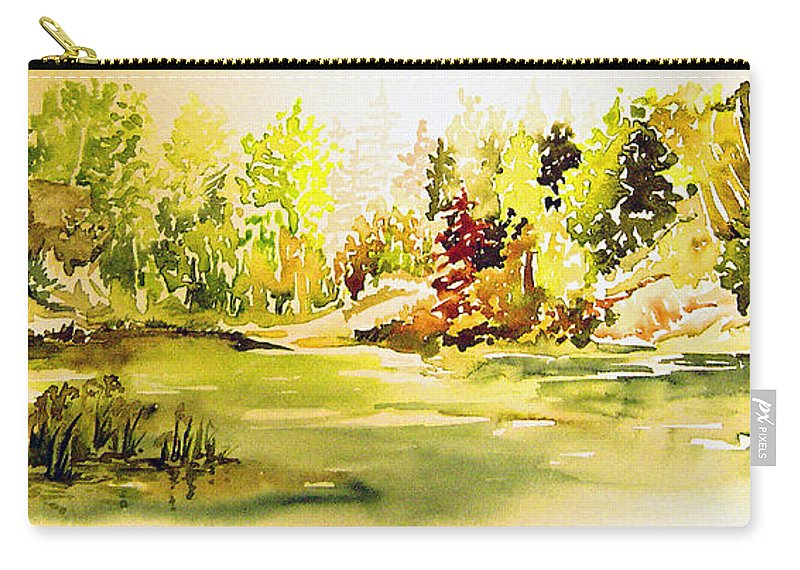 Fish Pond At Nutimik Lake Manitoba Whiteshell Carry-all Pouch featuring the painting Fish Pond At Nutimik Lake Manitoba by Joanne Smoley