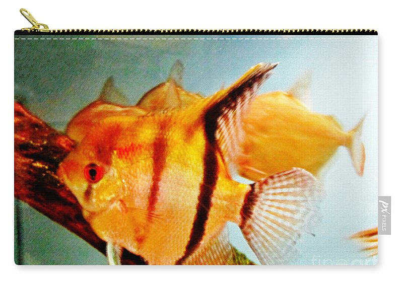 Gold Carry-all Pouch featuring the pastel Fish Tank by Don Baker