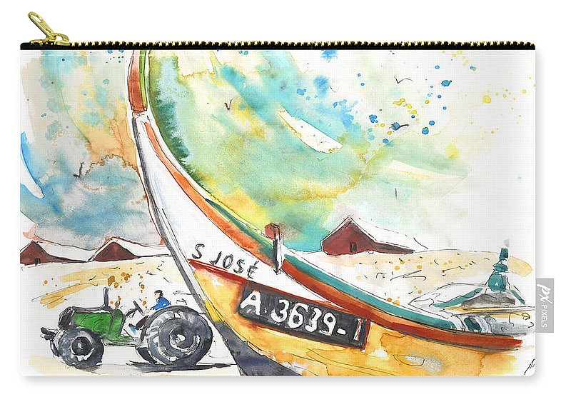 Portugal Carry-all Pouch featuring the painting Fisherboat In Praia De Mira by Miki De Goodaboom