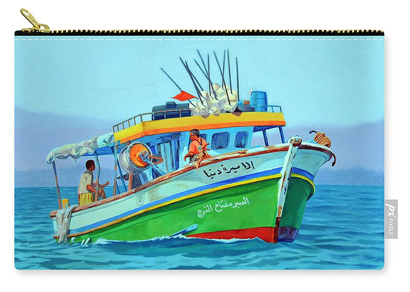 Impressionism Carry-all Pouch featuring the painting Fisherman by Ahmed Bayomi