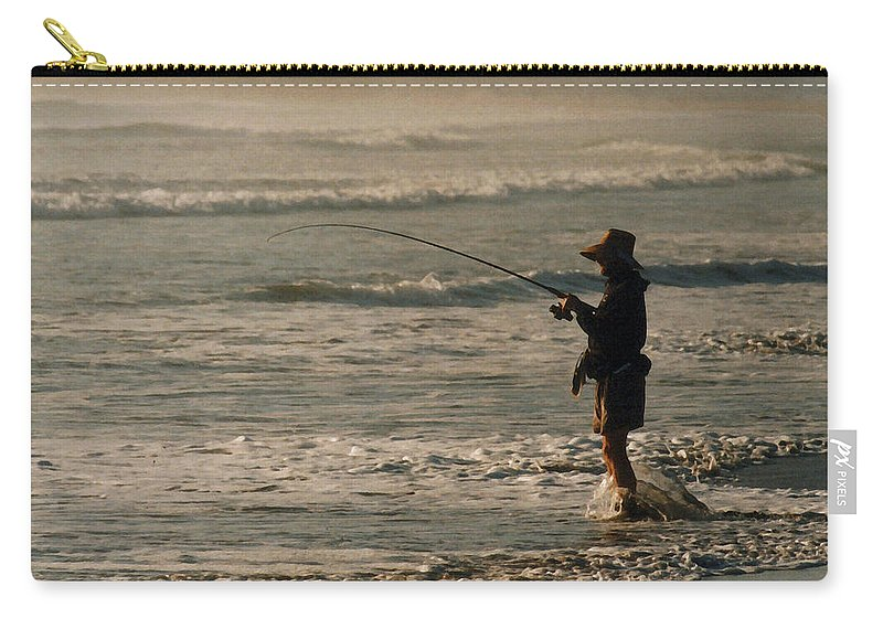 Fisherman Carry-all Pouch featuring the photograph Fisherman by Steve Karol