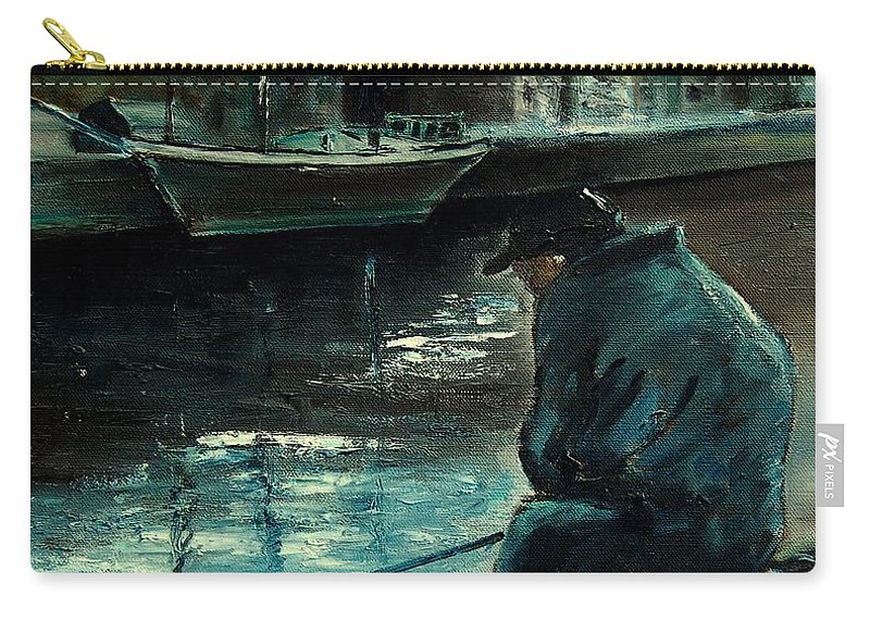 Figurative Carry-all Pouch featuring the painting Fisherman's Patience by Pol Ledent