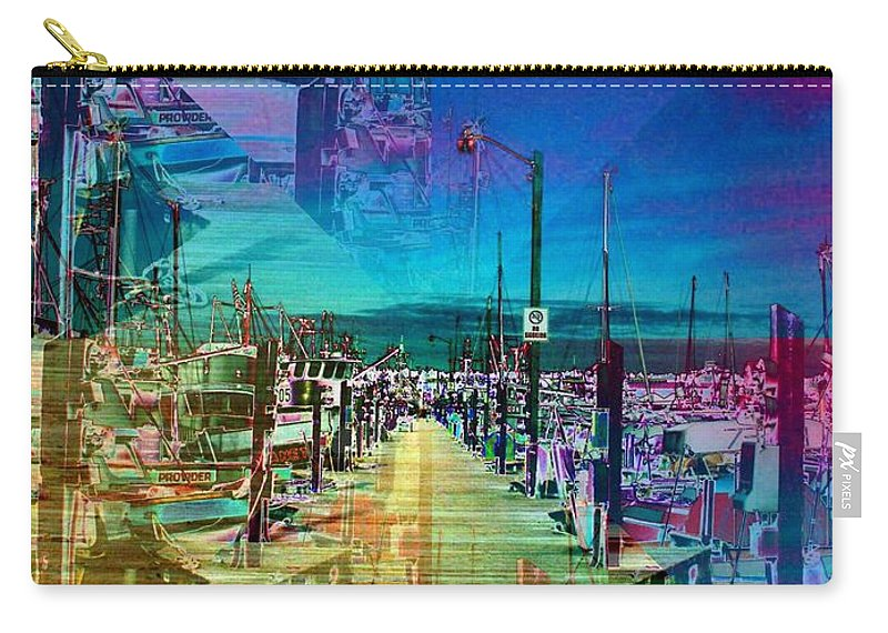 Seattle Carry-all Pouch featuring the digital art Fishermans Terminal Pier 2 by Tim Allen