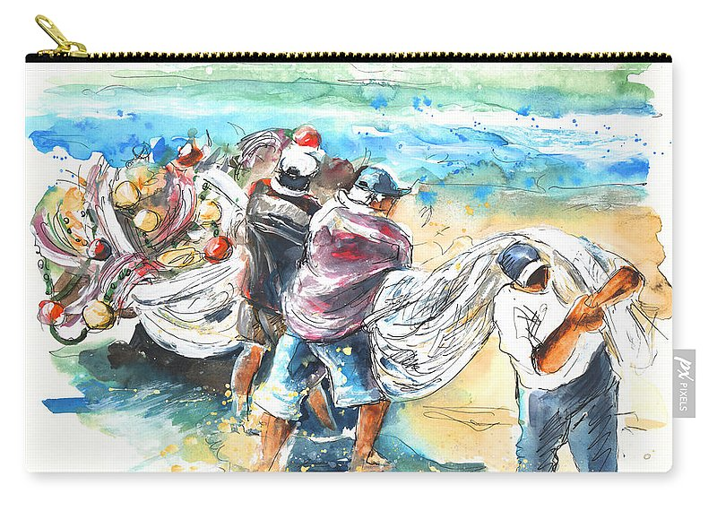 Portugal Carry-all Pouch featuring the painting Fishermen In Praia De Mira by Miki De Goodaboom