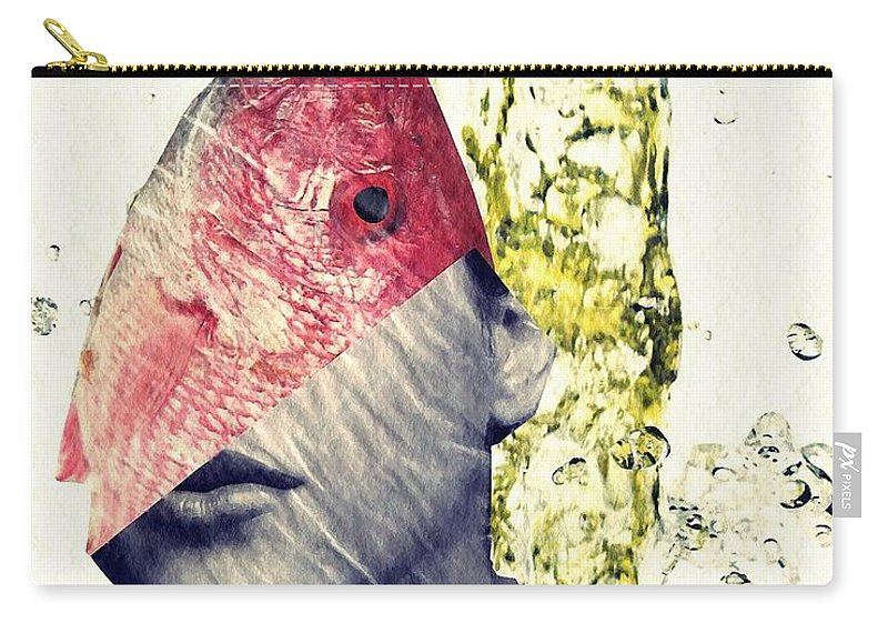 Head Carry-all Pouch featuring the mixed media Fishhead by Sarah Loft