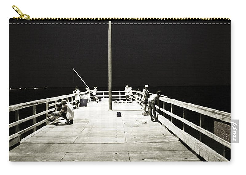 Americana Carry-all Pouch featuring the photograph Fishing At Night by Marilyn Hunt