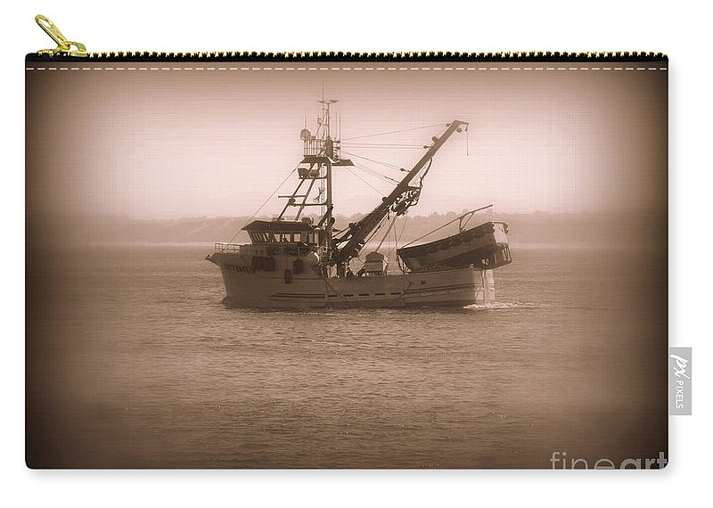Boat Carry-all Pouch featuring the photograph Fishing Boat In Monterey Bay by Joy Patzner