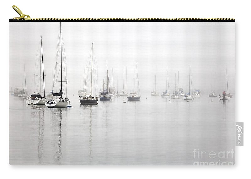 Minimalist Carry-all Pouch featuring the photograph Boats In Morro Bay Fog by Sharon Foelz