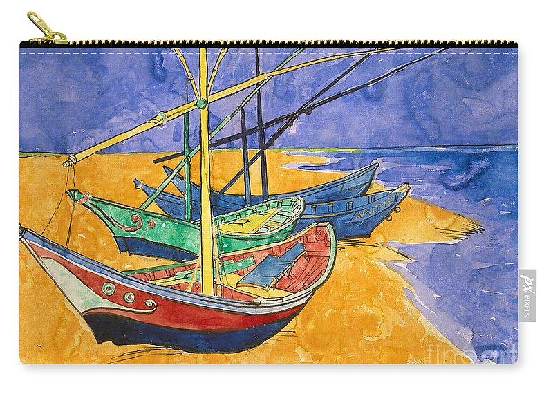 Vincent Van Gogh Carry-all Pouch featuring the painting Fishing Boats on the Beach at Saintes Maries de la Mer by Vincent Van Gogh