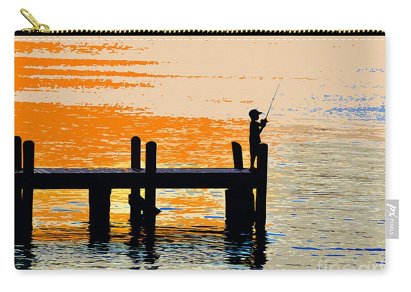 Boy Carry-all Pouch featuring the painting Fishing Boy by David Lee Thompson