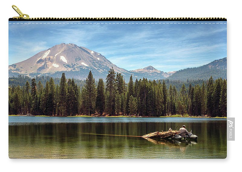 Mount Lassen Carry-all Pouch featuring the photograph Fishing By Mount Lassen by James Eddy