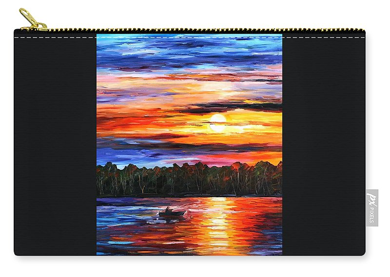 Seascape Carry-all Pouch featuring the painting Fishing By The Sunset by Leonid Afremov