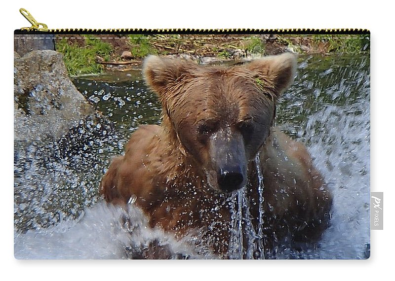 Grizzly Carry-all Pouch featuring the photograph Fishing by Donna Cain
