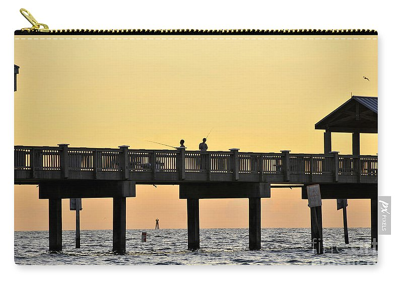 Fishing Carry-all Pouch featuring the photograph Fishing Friends by David Lee Thompson