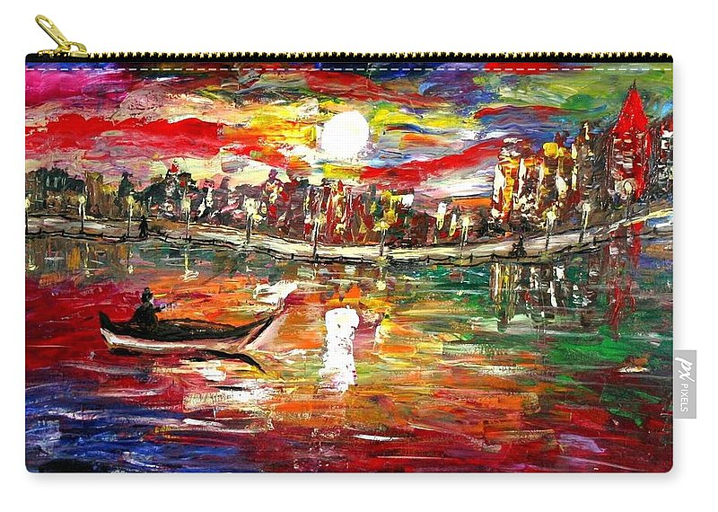 Art Carry-all Pouch featuring the painting Fishing In The Moonlight by Luiza Vizoli