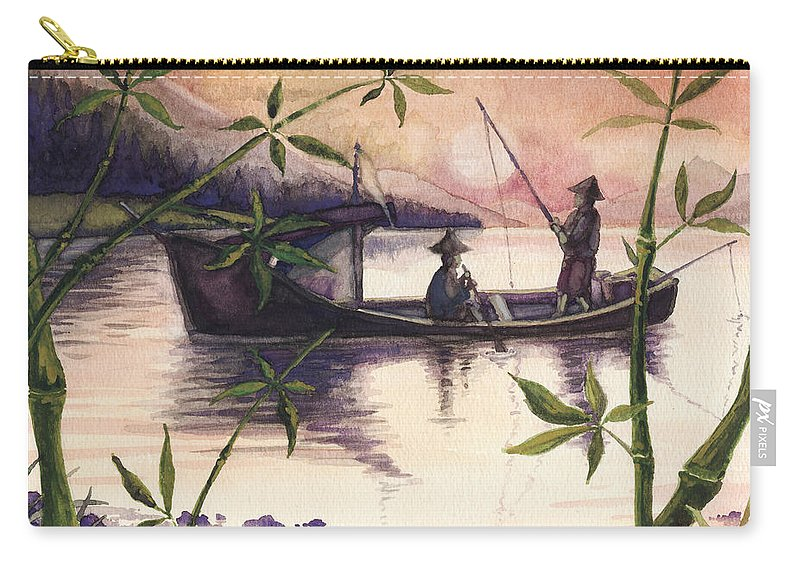 Fishing Carry-all Pouch featuring the painting Fishing In The Sunset  by Alban Dizdari