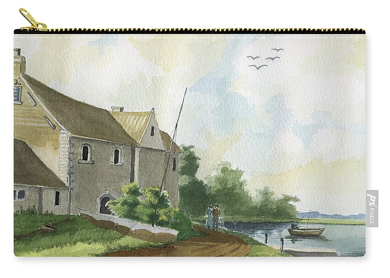 Lake Carry-all Pouch featuring the painting Fishing Lake by Alban Dizdari