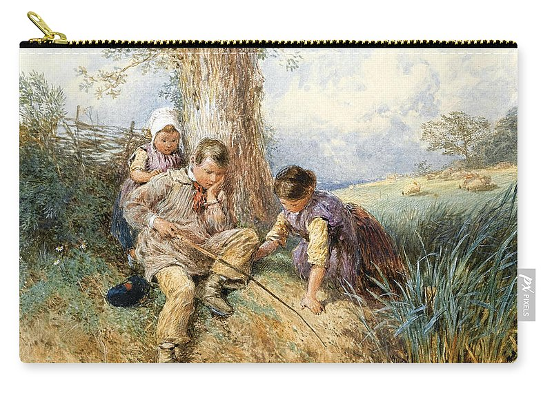 Myles Birket Foster Carry-all Pouch featuring the drawing Fishing by Myles Birket Foster
