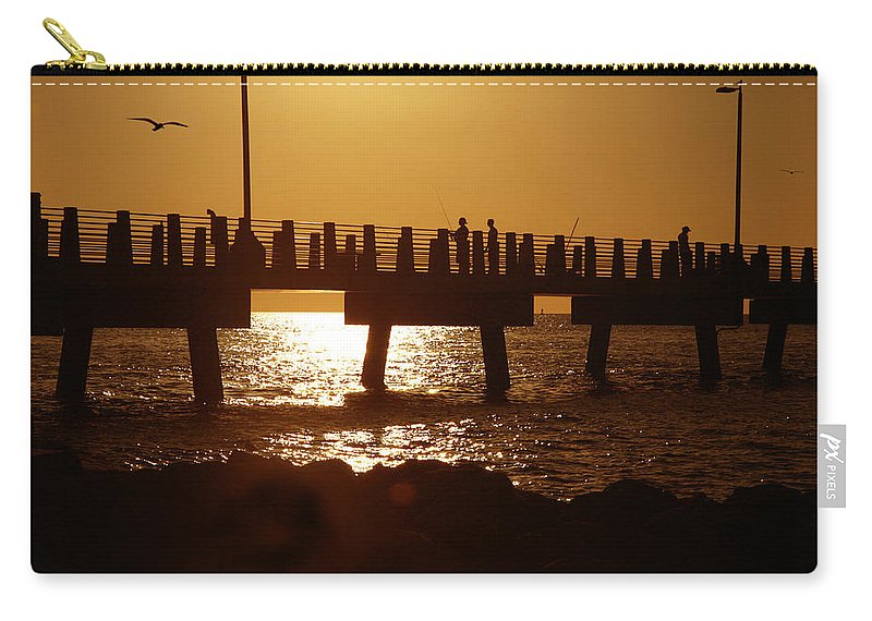 Fort De Soto Carry-all Pouch featuring the photograph Fishing Off The Pier At Fort De Soto At Dusk by Mal Bray